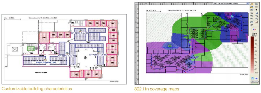 Customizable building characteristics and 802.11n coverage maps